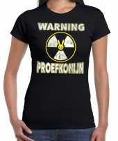 Halloween warning proefkonijn verkleed t-shirt zwart voor dames