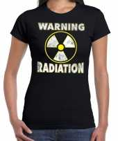 Halloween warning radiation verkleed t-shirt zwart voor dames