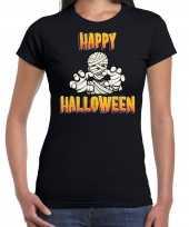 Happy halloween horror mummie verkleed t shirt zwart voor dames