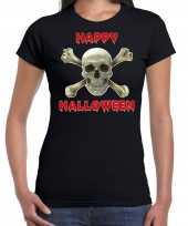 Happy halloween horror schedel verkleed t-shirt zwart voor dames