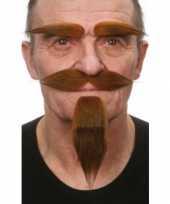 Kostuum set bruin snor baard en wenkbrauwen