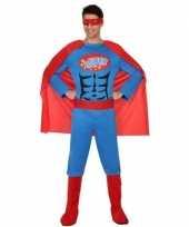 Superheld verkleed kostuum kostuum blauw rood voor heren