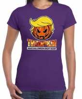 Trumpkin make halloween great again t shirt paars voor dames